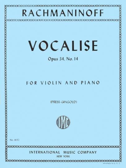 Rachmaninoff, Vocalise, Opus 34, No. 14