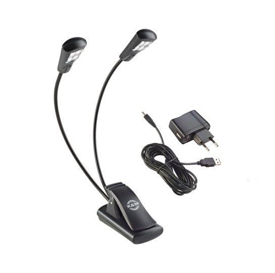 K & M Music stand light »Double4 LED FlexLight« with power adapter - black